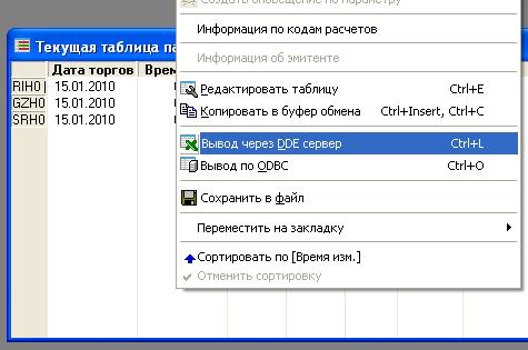 вывод через DDE сервер в ИТС Quik